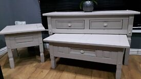 3 piece livingroom/hall set, solid large sideboard/hall table,coffee table & side table