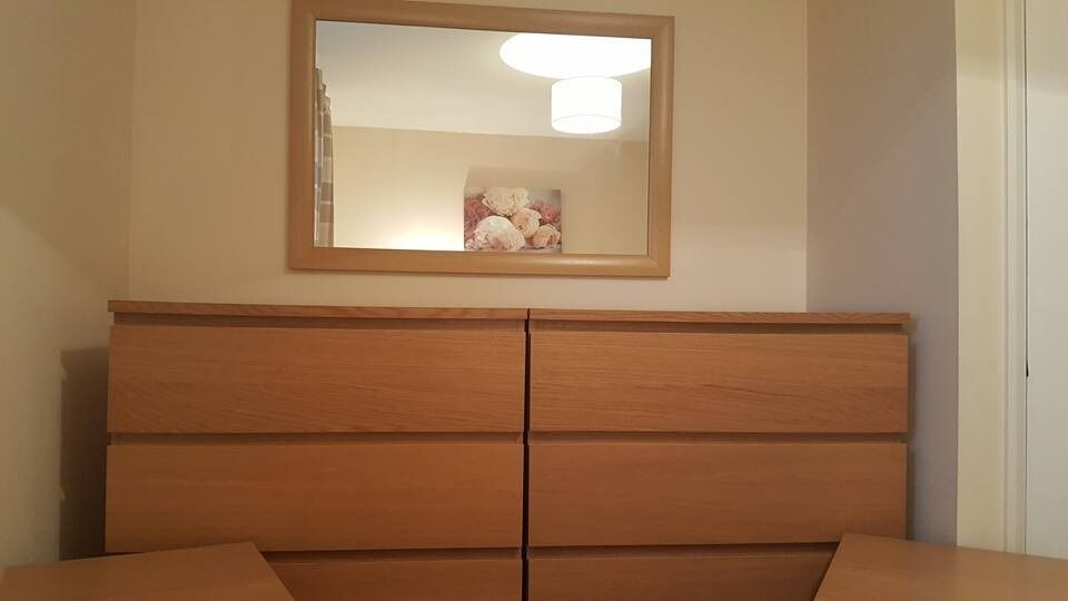 Ikea Oak Malm Furniture 2x Chest Of Drawers 2x Bedside Tables And A Maching  Mirror.