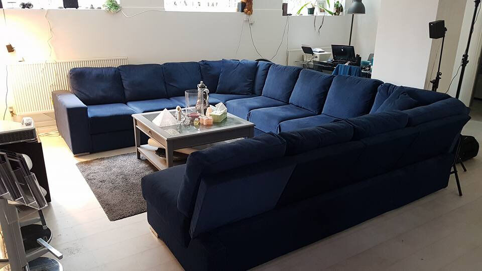 Extra Large U Shaped Sofa With Fold Out Double Bed Seats 11 People