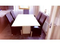 Cream Marble dining room table c/w 6 No brown leather chairs