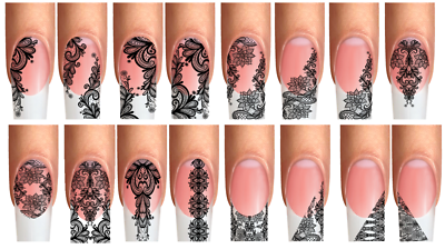 Wraps Nail Tattoos Ornamenten Spitze Design Blüte floral Netz schwarz fullcover