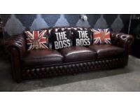 Stunning Chesterfield 4 Seater Brown Leather Hump Back Sofa - UK Delivery
