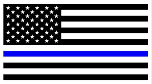 "POLICE MEMORIAL Thin Blue Line American Flag Vinyl Bumper Sticker 3.75"" x 7.5"""