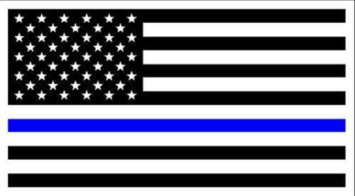 "USA POLICE Thin Blue Line American Flag Vinyl Bumper Sticker 3.75"" x 7.5"""