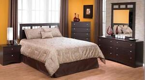 LORD SELKIRK FURNITURE - 5PC Bedroom Set in Cappuccino - Dresser, Mirror, x2 Night Stands, Platform Bed -  $649.00