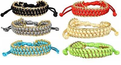 Designer Damen Armband gold mit Seidenband geflochten Freundschaftsarmband ()
