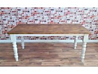 Turned Leg Farmhouse Rustic Reclaimed Kitchen Dining Table Made From Reclaimed Wood Pine