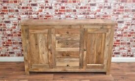 Rustic Natural Hardwood Sideboard Cupboard Drawers Dining Room Storage Unit