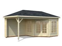5.5m x 3m log cabin and gazebo