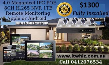 4.0 Megapixel CCTV Security Cameras IPC POE Package Installed