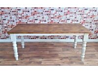 Rustic Farmhouse Turned Leg Dining Table Reclaimed Wood Timber Pine