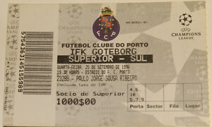 Ticket for collectors CL FC Porto IFK Goteborg 1996 Portugal Sweden - <span itemprop='availableAtOrFrom'>Internet, Polska</span> - Ticket for collectors CL FC Porto IFK Goteborg 1996 Portugal Sweden - Internet, Polska