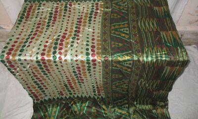 Pure silk Antique Vintage Sari EXOTIC 4Y S18 267 Cream Green UK #ABGNT