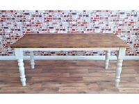 Solid Pine dining Kitchen Table Made With Reclaimed Timber Wood farmhouse Rustic Style