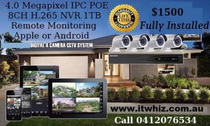 CCTV Security Cameras supply and install 2K 4.0 Megapixel IPC POE