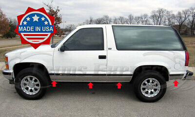 1995-1999 Chevy Tahoe 2Dr No Flare Rocker Panel Trim FL Chrome Stainless Steel