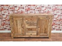 Rustic Natural Hardwood Sideboard Cupboard Drawers Dining Room Storage Unit / Hutch