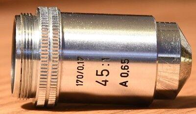 Leitz Wetzlar 6l Microscope Objective 451 170 0.17 A0.65 In Great Shape