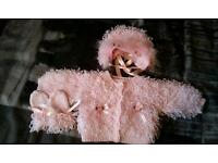 pink loopy cardigan set 0-6 months