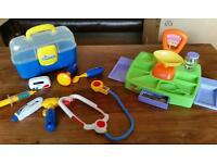 Doctors medical kit bag and accessories and sweet shop playset let's petend toy bundle age 3+