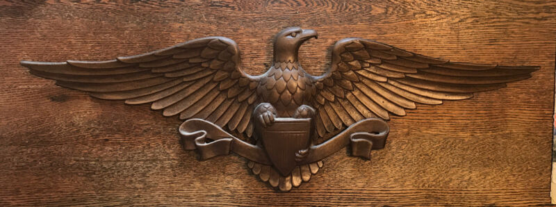 "Vintage Sexton Federal Eagle Wall Hanging Plaque Cast Aluminum 27"" Wingspan USA"
