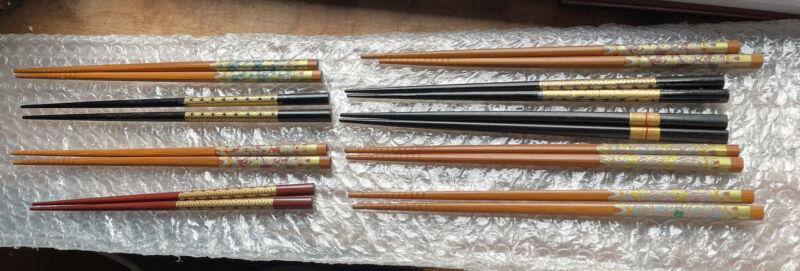 lot 9 Vintage Sets Of Chinese Cloisonné Enamel Chopsticks Deco