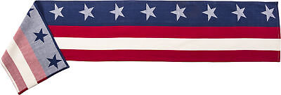 Patriotic Americana 4th of July Table Runner Stars and Stripes Woven Cotton (A) - Patriotic Table Runner