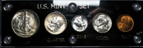 1945-S US Mint Set GEM BU++ Toned NICE Walking Liberty Washington Lincoln Cent