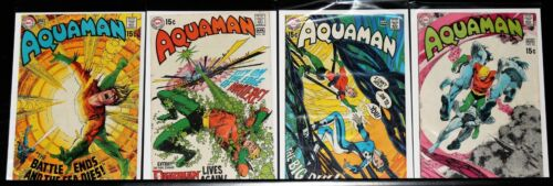 AQUAMAN  #49, #50, #51, #52 WITH DEAD MAN BY NEAL ADAMS BRIGHT COVER COLORS