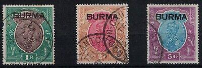 BURMA, 1937, KGV, SG13 - SG15 FINE USED, CAT. £76.