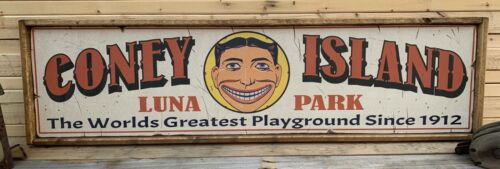 Antique Rustic Style Coney Island Luna Park Brooklyn NY Wooden Sign 6x24
