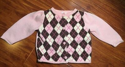 Gymboree Girls Pink Brown Argyle Button Cardigan Sweater Size 6-12 Months