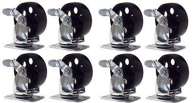 8 Large All Steel Swivel Plate Caster W Brake Lock Heavy Duty 3.5 Wheel