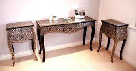 Embossed Black & Silver Dresser & Matching Pair Bedside Cabinets/Pedestals