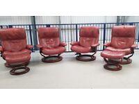 Ekornes Stressless 4 Swivel burgundy recliner leather chairs & 2 footstools