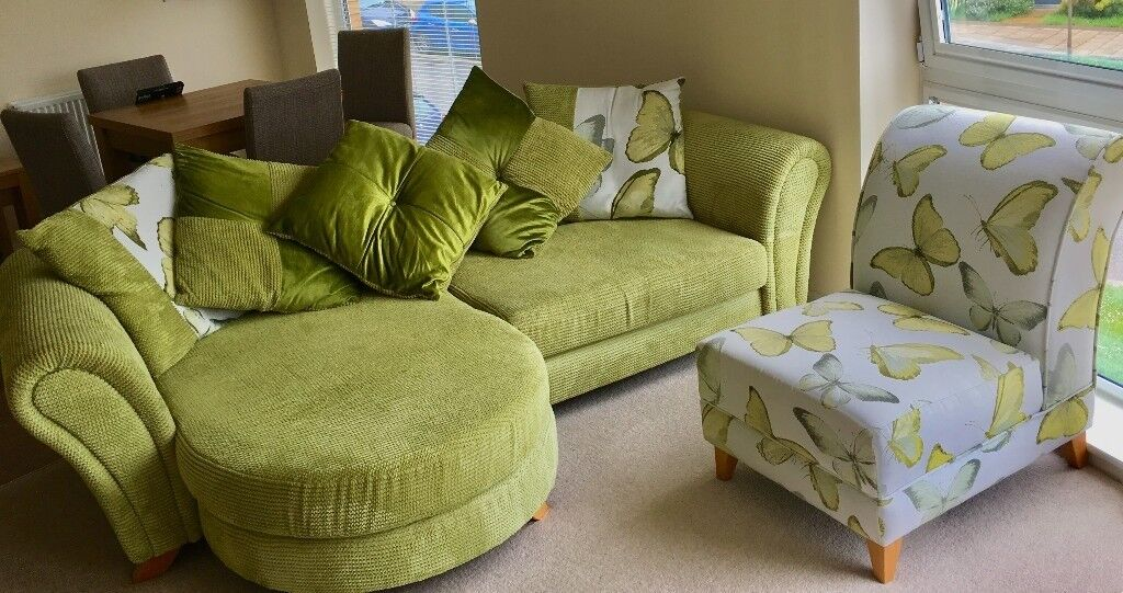 Dfs Mariposa 4 Seater Sofa Green With Matching Dfs