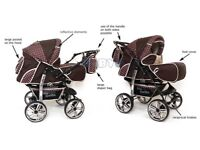 SALE Baby Pram Stroller Pushchair with Carrycot Buggy Travel system and car sit