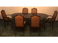Meredew Mahogany Dark Wood Extendable Dining Table With 6 Matching Chairs In Southampton