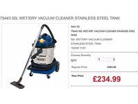 75443 50L WET/DRY VACUUM CLEANER STAINLESS STEEL TANK