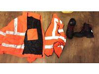 Steel Toe Cap Boots, Hi Vis Coat & Vest