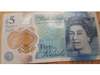 NEW GENIUNE FRESH £5 NOTE!! FROM THE BANK!