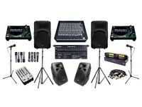 Sound System hire - PA, Mics, Speakers, Decks, 16 Channel desk & engineer for bands, gigs, parties