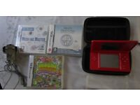 Red Nintendo DS Lite games Console Bundle with three games, stylus, charger and a case