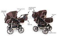 SALE Baby Pram Stroller Pushchair + Carrycot Buggy Travel system