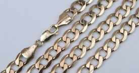 "9ct 9Carat Yellow Gold Curb Linked Chain Necklace 21"" Inch"