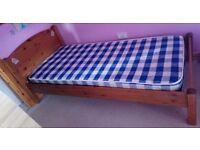 Pine single bed and mattress - DORNOCH