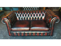 Oxblood leather Chesterfield 2 seater sofa...