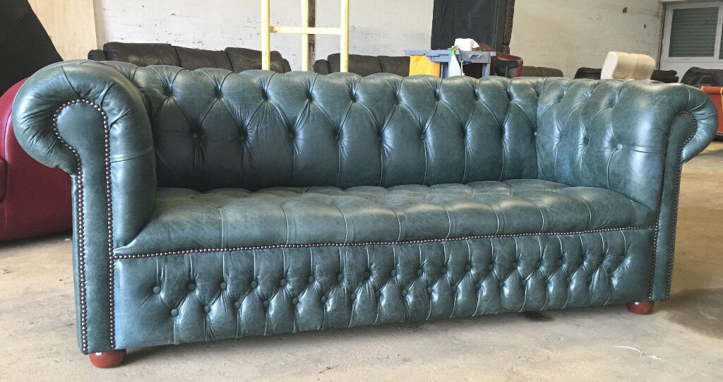 Saxon leather 3 seater sofa in selvagio forrest green DELIVERY AVAILABLE