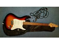 Electric Guitar by Gear4music - Sunburst design with guitar case and leads