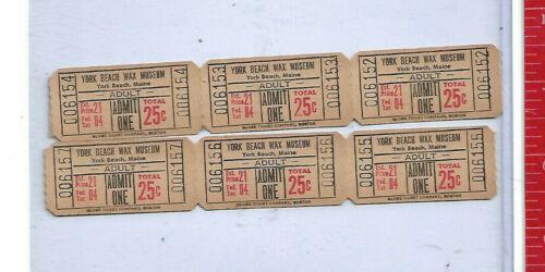 Vintage York Beach Wax Museum adult tickets 25c admission price Maine